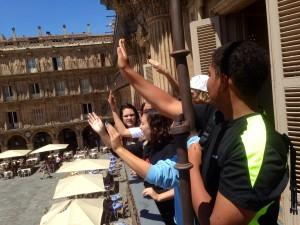 Waving form the balcony at city hall