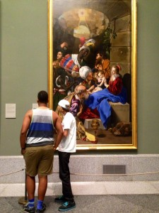 Thatcher and John learning about this amazing work of art in the Prado