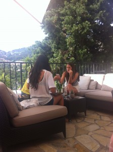 Taking coffee on the terrace of Chateau Eze